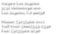 Natpro Los Angeles 5151 Heliotrope ave. Los Angeles, CA 90058 Phone: (323)562-2111 Toll Free: (800)333-2330 Fax: (323)562-9130
